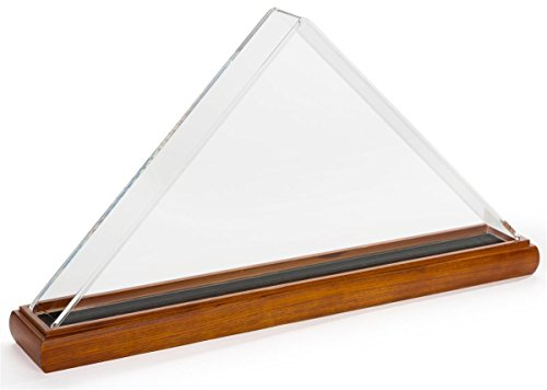 Displays2go Acrylic Flag Display Case with Solid Wood Base - Cherry (FC595ACCH)
