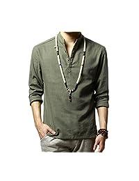Elonglin Mens Linen Casual Henley Shirts Long Sleeve Shirt