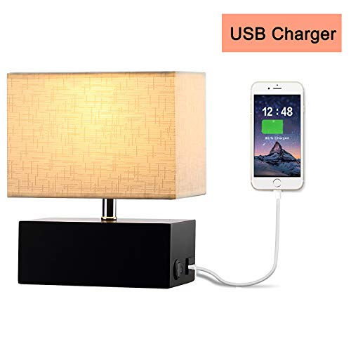(HOMPEN Table Lamp, Grace Bedside Lamp with USB Charging Port, Art Pattern Shade for Living Room, Bedroom, Guestroom, Study, Office)