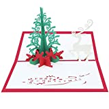 Brave669 [Christmas Decoration] -Handmade 3D Pop Up Deer Xmas Tree Paper Greeting Card Christmas, Christmas Lights