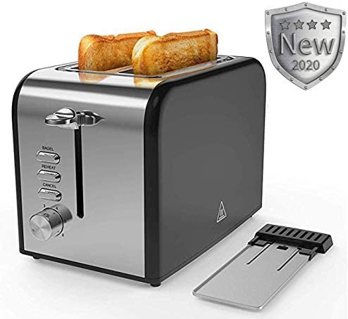 Toaster 2 Slice best rated prime Quickly Black Stainless Steel Bagel Toaster With 2 Wide Slots 6 Shade Settings and Removable Crumb Tray for Bread Waffles