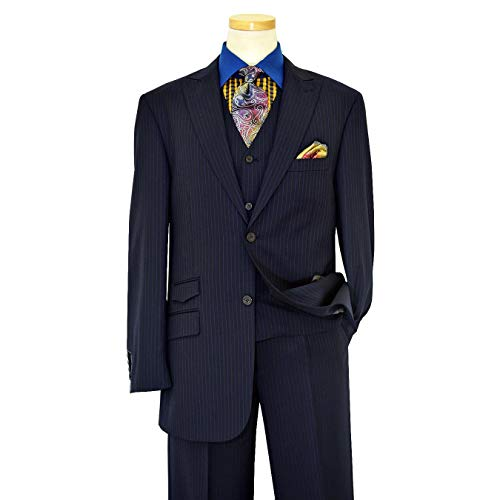 (Luciano Carreli Men's Navy Blue Super 150's Wool Plaid Pinstripes Vest & Trousers 6296-2716 (46R Jacket - 40 in. Waist))