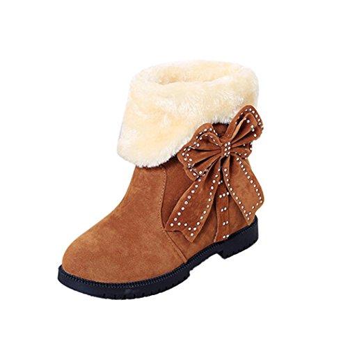 Tefamore Zapatos Planos de Mujer Botines Botas de Nieve Bowknot Otoño Invierno Caqui