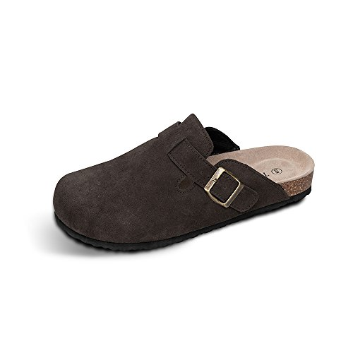 - TF STAR Unisex Boston Soft Footbed Clog Cow Suede Leather Clogs, Cork Clogs Shoes for Women Men Brown