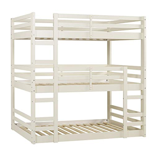 Offex Solid Wood Triple Bunk Bed - White