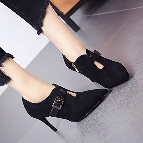 HBDLH Damenschuhe Sexy Martin Stiefel Stiefel Stiefel Mit Hohen 10Cm Ausgehöhlt Mode Seite Reißverschluss Gürtel Dünne Sohle Wies Kopf Kurze Stiefel. c3aa6c