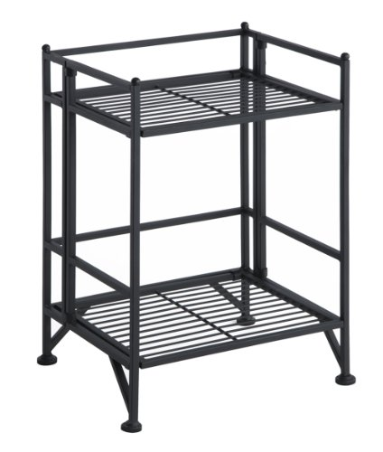 (Convenience Concepts 8020B Designs2Go X-Tra Storage 2-Tier Folding Metal Shelf, Black)