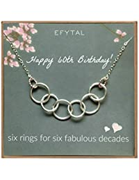 Happy 60th Birthday Gifts for Women Necklace, Sterling Silver 6 Rings six Decades Necklaces Gift Ideas