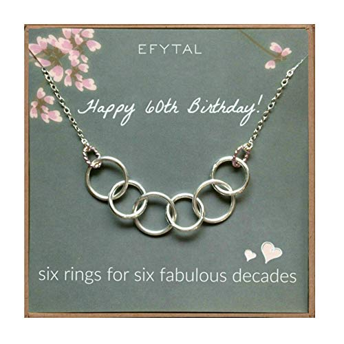 EFYTAL Happy 60th Birthday Gifts for Women Necklace, Sterling Silver 6 Rings six Decades Necklaces Gift Ideas (60th For Present Birthday Mom)