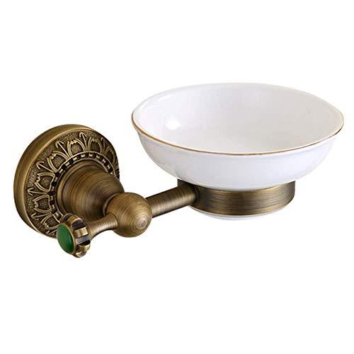 (ATR Bathroom Shelf Shower Storage Soap Dish Wall-Mounted Soap Bar Rack European Style Retro Brass Ceramics Soap Box Punch Installation (Color : Brass, Size : 11cm))