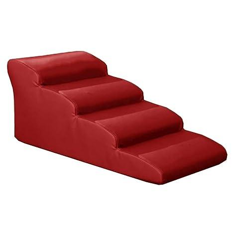 Perros Escaleras escalones Escalera para Perros 4 Pasos Escalera Cama Alta, sofá de Cuero PU
