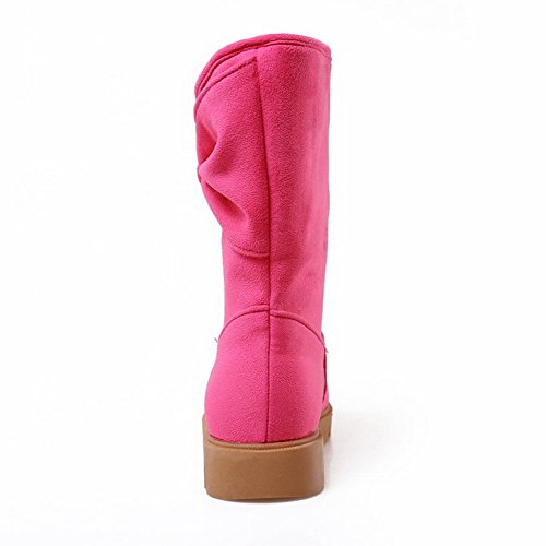 Solid Boots Frosted Toe On Round Pull Allhqfashion Low Rosered Closed Women's Heels zpwqFxv5