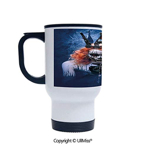 Stylish Stainless Steel Attractive And Distinctive Design 14OZ Travel Mug Cup Queen of Death Scary Body Art Halloween Evil Face Bizarre Make Up Zombie,Navy Blue Orange Black Suitable For Hot And Cold]()