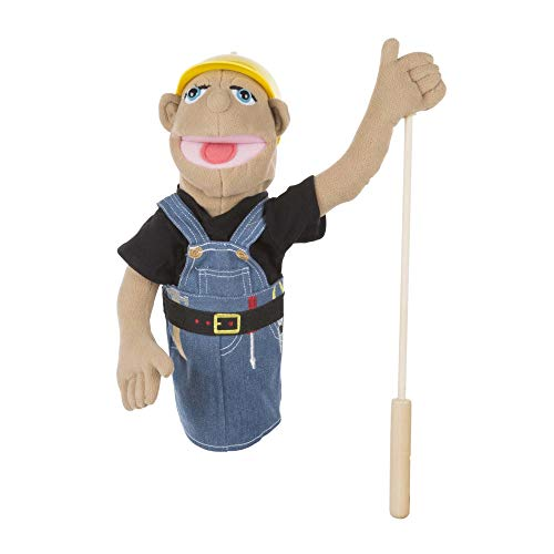 Melissa & Doug Construction Worker Puppet with Detachable Wooden Rod for Animated Gestures, Multicolor