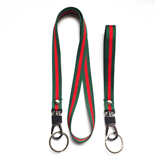 Tag Key Swivel (Heavy Duty Webbing Neck Lanyard and Hand Wrist Lanyard Keychain, Soft Woven Stripe Webbing Lanyard with Silver Swivel Hook & Key Ring. for Camera,Keychain,ID Name Tag Badge Etc Device.(Green/Red))
