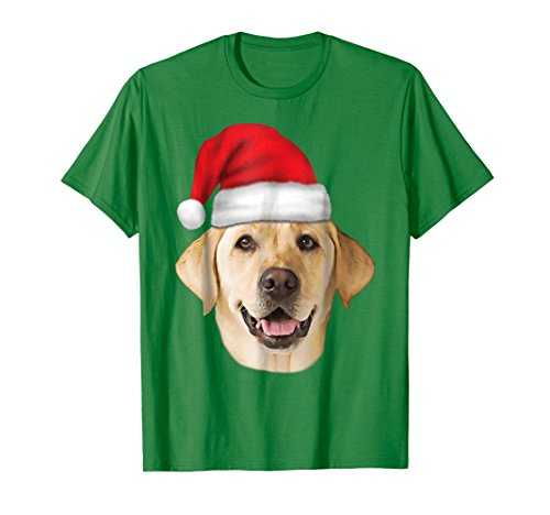 Mens Santa Hat Yellow Lab Portrait Labrador Xmas Holiday T-Shirt XL Kelly Green ()