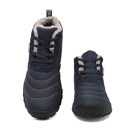 Outdoor Winter Men's Slippers Dark House Waterproof Insulated Shoes Blue Boots Snow KEESKY U857w7