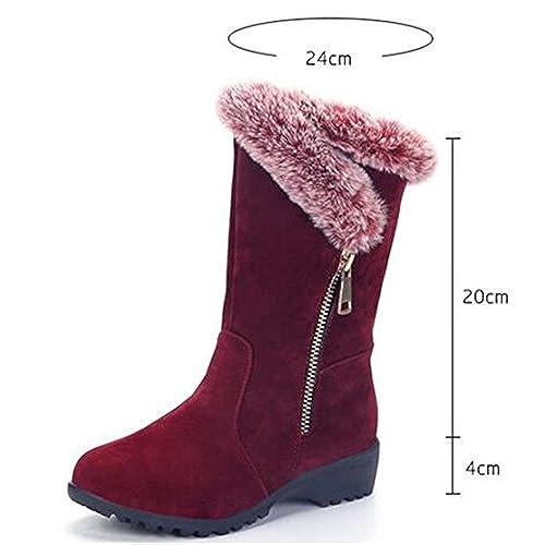 ce8deaa1575 best Women s Winter Warm Faux Fur Buckle Hidden Wedge Heels Platform  Slip-resistant Waterproof Mid