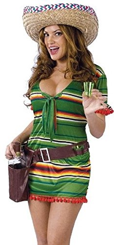 Ladies Sexy Mexican Tequila Shooter Girl + Shot Glasses & Sombro Hat Hen Do Fancy Dress Costume Outfit (UK 10-12) Green ()
