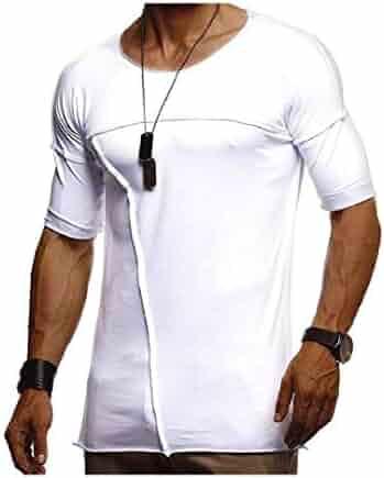 DressUMen Hood Long-Sleeve Pullover Irregular Hem Athletic T-Shirt Top