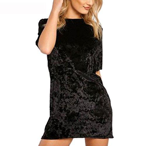 R.Vivimos Women's Summer Short Sleeve Crushed Velvet Mini Short Dresses (Medium, Black)