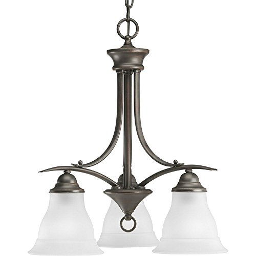 Progress Lighting P4324-20 3-Light Chandelier with Etched Glass, Antique Bronze Trinity Antique Bronze Three Light