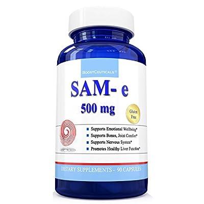 Sam e Supplement 500mg Sam-e ( S-Adenosylmethionine ) No Additives Natural Antidepressants Support by BoostCeuticals