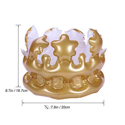 LUOEM 4Pcs 20cm Inflatable Crown Birthday Hats Queen or King Crowns Novelty Inflatable Blow up Toy Party Favors for Kids Gift (Golden) by LUOEM (Image #2)
