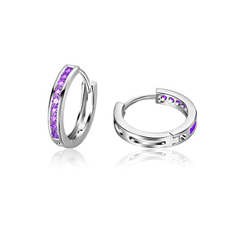 - Carleen 925 Sterling Silver Channel Setting Round Cut 9-stone Cubic Zirconia CZ Hinged Hoop Earrings for Women Girls Diameter 1.8cm (Purple)