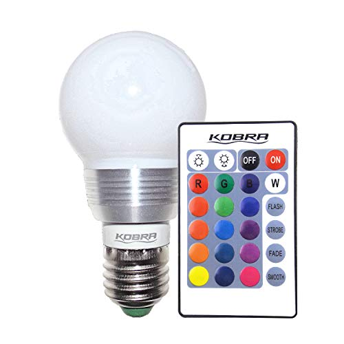 - KOBRA LED Bulb Color Changing Light Bulb with Remote Control 16 Different Color Choices Smooth, Flash or Strobe Mode- Premium Quality & Energy Saving Retro LED Lamp