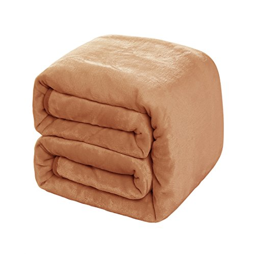 Balichun Luxury 330 GSM Fleece Blanket Super Soft Warm Fuzzy Lightweight Bed or Couch Blanket Twin/Queen/King Size(Queen,Tan)