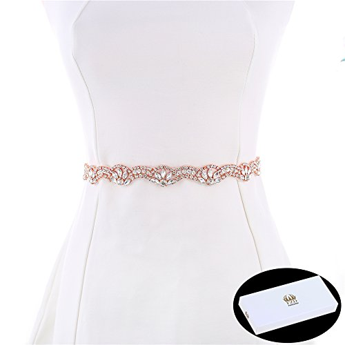Bridal Belt, FANGZHIDI 1 Yard Bridesmaid Wedding Rhinestone Sash with Crystal Pearl Trim Chain Bead Sequin applique Flower Pattern - Perfect for Women Dress, Party Festival Decoration. Rose Gold Rose Applique Patterns