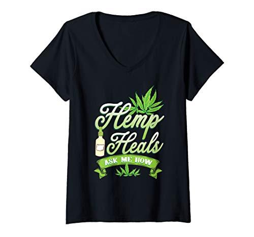 Womens CBD Oil Shirt - Hemp Heals CBD Oil  V-Neck T-Shirt
