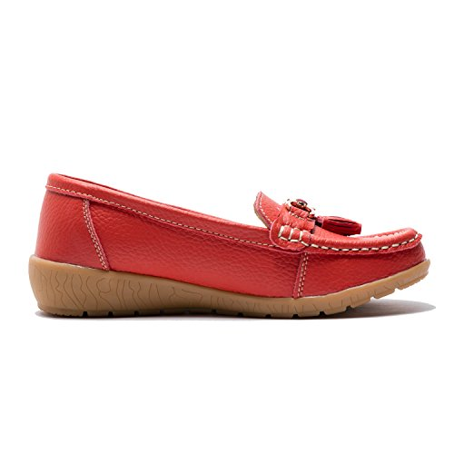 En Tailles Grandes Mocassins Avec Perforations Y Confort Pompon Cuir Rouge Femme wwYxpqBz4