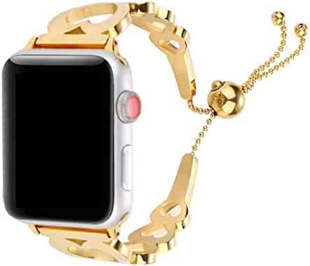 Juzzhou Watch Band For iWatch Apple Watch 38mm/40mm/42mm/44mm Series 1/2/3/4 Stainless Steel Replacement With Metal Adapter