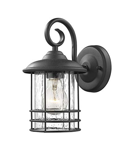 Emliviar 1-Light Outdoor Wall Lantern 2 Pack, Exterior Wall Lamp Light in Black Finish with Clear Seeded Glass -Twin Pack, OS-1803CW1 - Weather resistant and suitable for wet locations, these two pack outdoor wall lights features sturdy metal construction and seeded glass shade Easy installation with open bottom to allow for easy bulb replacement. Includes all mounting hardware Hard wired. Requires 1x E26 base bulb(Max.100W) per light. Bulb NOT included - patio, outdoor-lights, outdoor-decor - 419TYDybN0L -