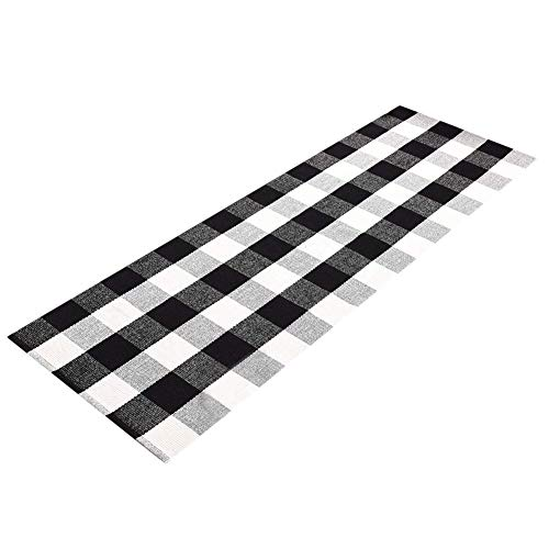 Levinis Buffalo Checked Kitchen Mat Black and White Area Rugs for Living Room/Bedroom, 100% Cotton Gingham Hand-woven Checkered Kitchen Rugs, 23.6''x70.8''