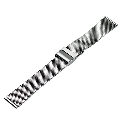 RECHERE Mesh Stainless Steel Bracelet Wrist Watch Band Strap Interlock Safety Clasp Silver (20mm)