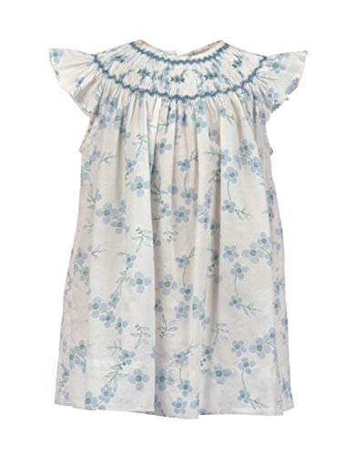 Baby Girls Dress Hand Smocked Bishop Collar with Light Blue Printed Flowers