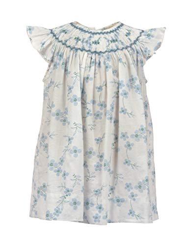 Smocked Bishop Hand - Baby Girls Dress Hand Smocked Bishop Collar with Light Blue Printed Flowers