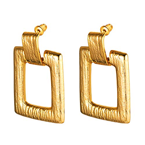 FOCALOOK Simple Metal Square Earrings - 18K Gold Plated Square Dangle Drop Punk Bohemian Fashion Jewelry Hypoallergenic Geometric Statement Earrings for Women(100% 925 Silver Needle) ()