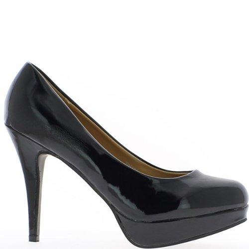 Escarpins femme grande taille noirs à talon de 12cm et plateforme