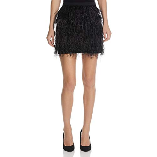 Lucy Paris Womens Tiered Feather A-Line Skirt Black M