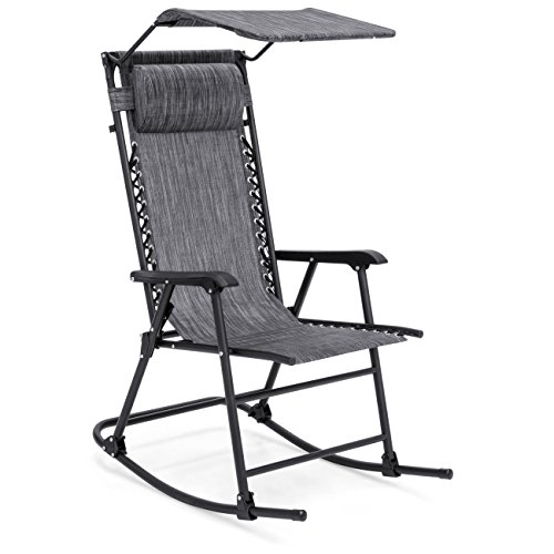 Best Choice Products Foldable Zero Gravity Rocking Patio Chair w/ Sunshade Canopy - Gray
