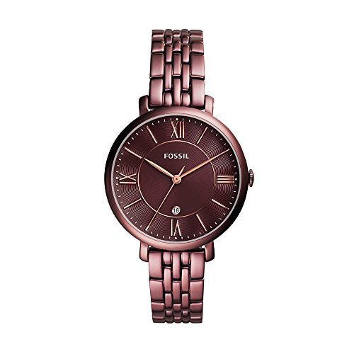 Fossil Women's Jacqueline Quartz Stainless Steel Dress Watch, Color: Purple (Model: ES4100) (Fossil Watch Color)