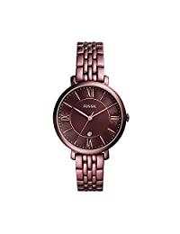 Fossil Women's Quartz Stainless Steel Casual Watch, Color:Red (Model: ES4100)
