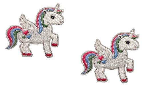2 pieces UNICORN PEGASUS Iron On Patch Applique Motif Spiritual Horse Children Decal 2.5 x 2.4 inches (6.3 x 6 cm)