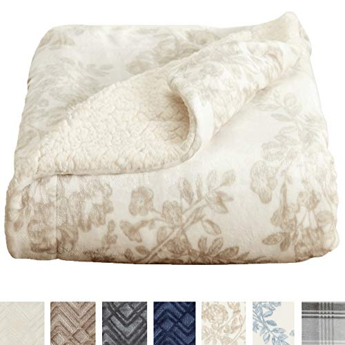 (Home Fashion Designs Premium Reversible Sherpa and Sculpted Velvet Plush Luxury Blanket. Fuzzy, Soft, Warm Berber Fleece Bed Blanket Brand. (Full/Queen, Toile Taupe))