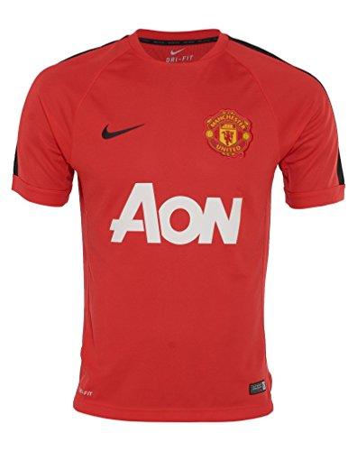 Nike Manchester United Short Sleeve Training Top, Light Crimson