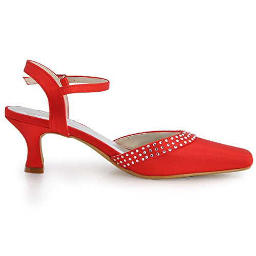 ElegantPark Heels Red Wedding Rhinestones Square Toe Court Party Satin Chunky EP11033 Shoes Buckles Women rqXxrT